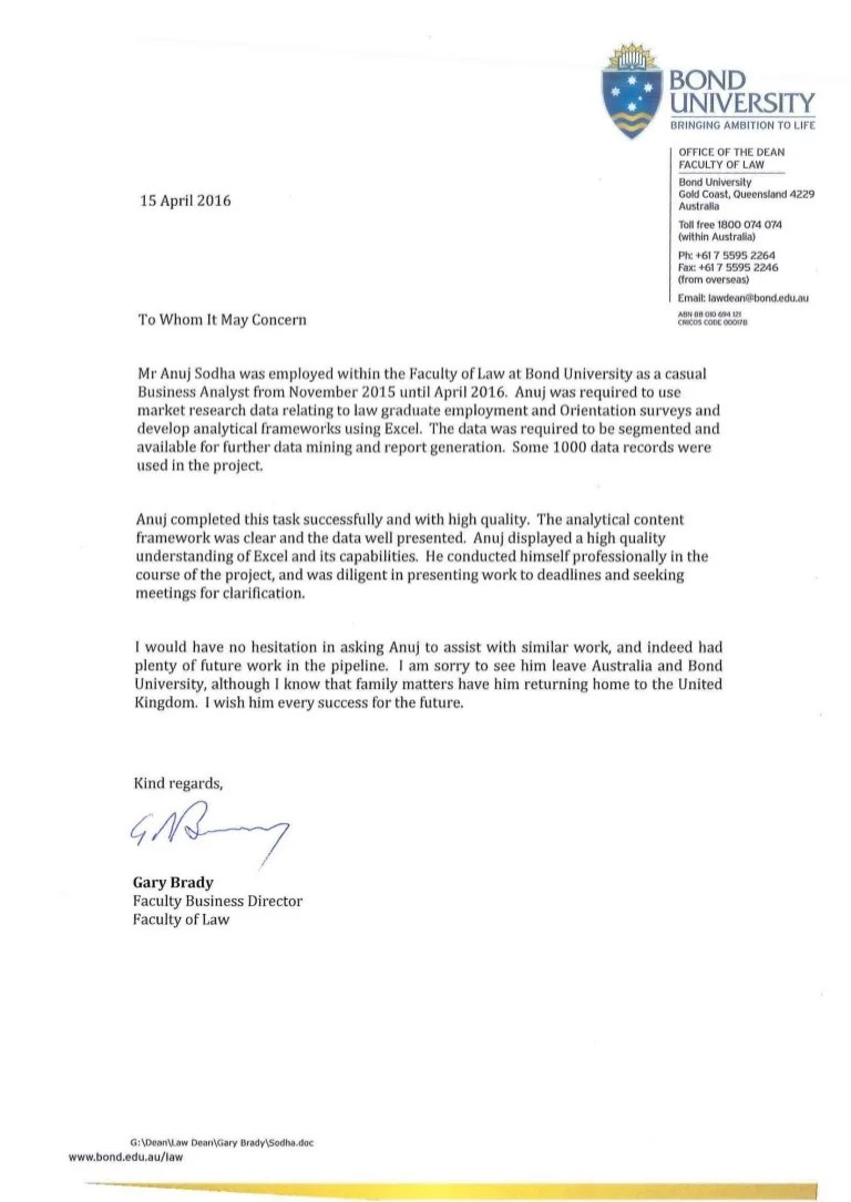 Reference Letter Law Bond University