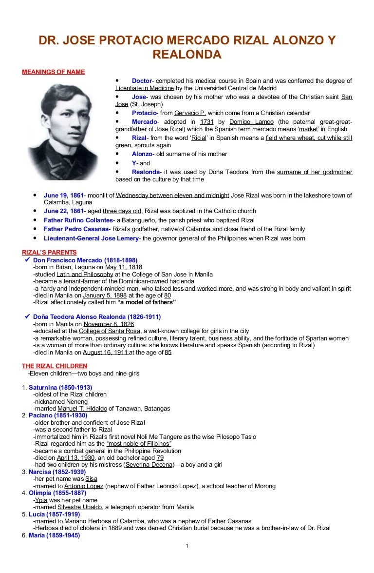 138815106 33581113 Reviewer Life Of Dr Jose Rizal