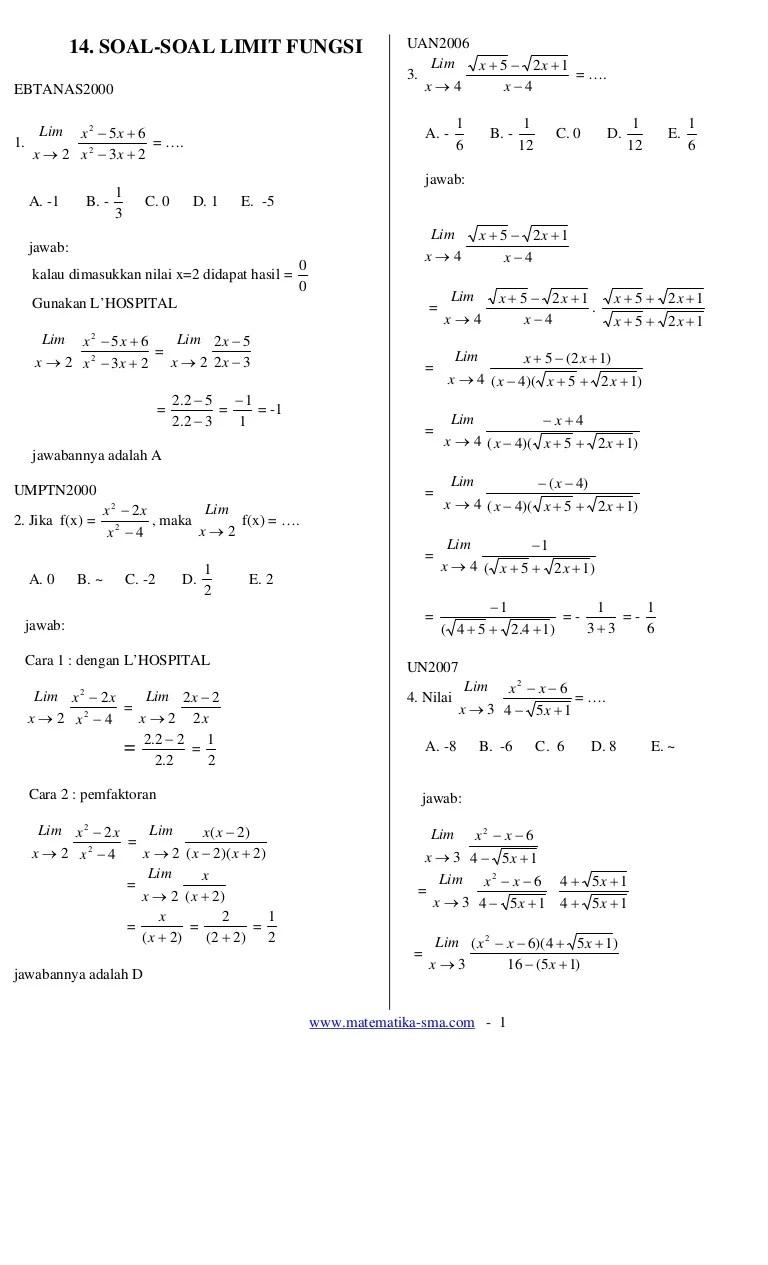 Kumpulan Soal Limit Fungsi Trigonometri : kumpulan, limit, fungsi, trigonometri, Contoh, Limit, Trigonometri, Hingga