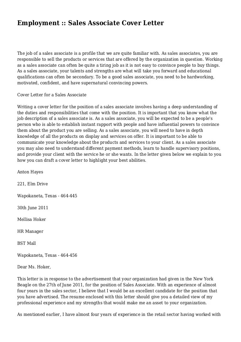 Cover Letter For A Sales Associate Employment Sales Associate Cover Letter