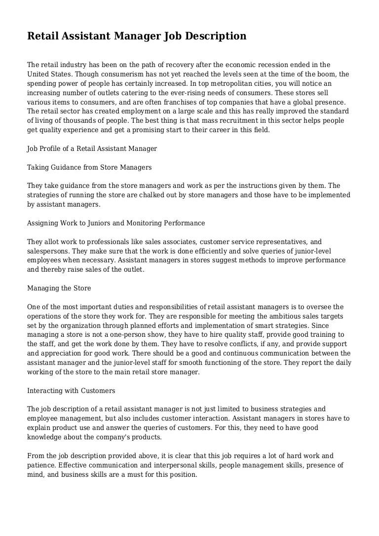 Retail Assistant Manager Job Description