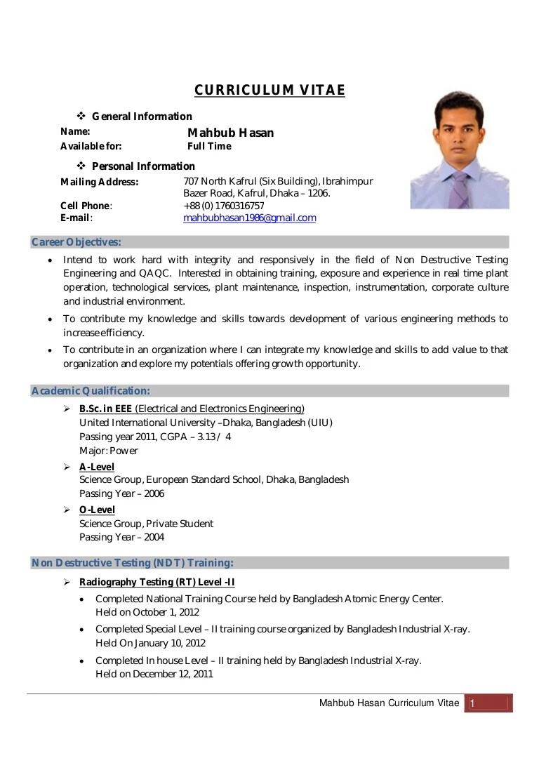 Mahbub Hasan Curriculum Vitae Updated Copy