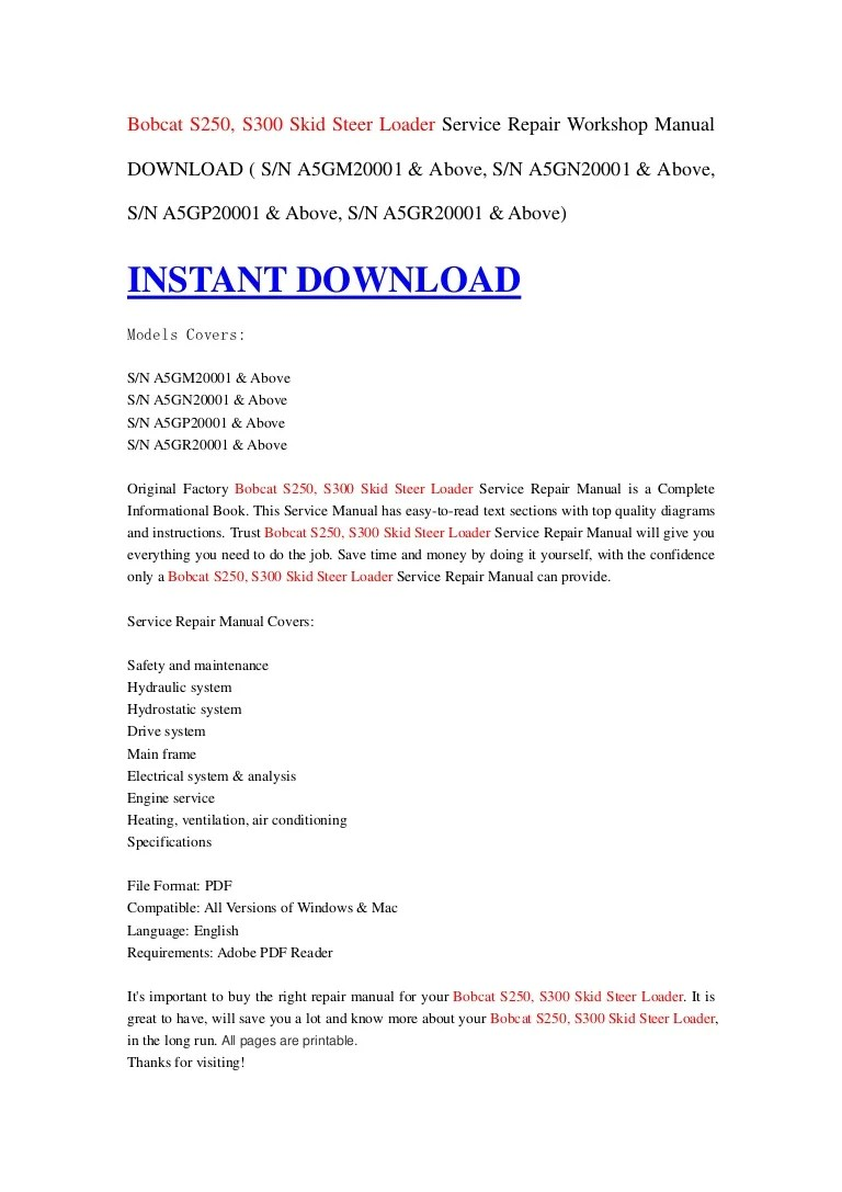 bobcat s250 s300 skid steer loader service repair workshop manual download s n a5gm20001 above s n a5gn20001 above s n a5gp20001 above  [ 768 x 1087 Pixel ]