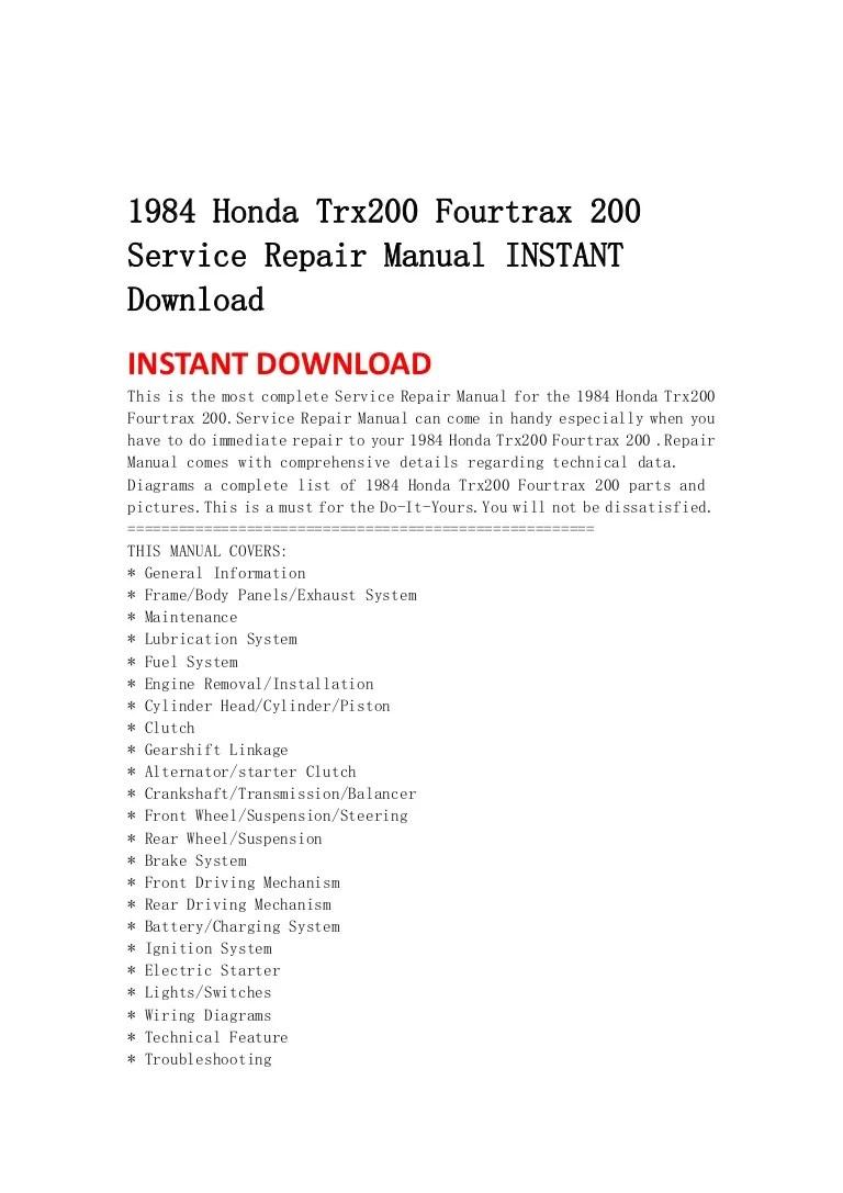 medium resolution of 1984hondatrx200fourtrax200servicerepairmanualinstantdownload 130429073503 phpapp01 thumbnail 4 jpg cb 1374520873 1984 honda trx200 fourtrax 200