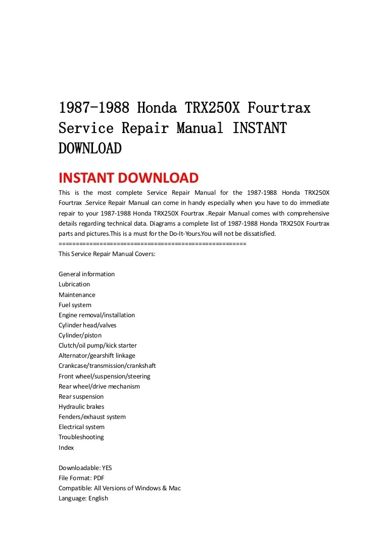small resolution of 1987 1988 honda trx250 x fourtrax service repair manual instant download