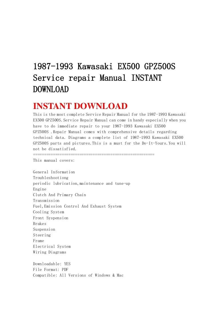 small resolution of 1987 1993 kawasaki ex500 gpz500 s service repair manual instant downl rh slideshare net 1993 kawasaki ninja ex500 wiring diagram