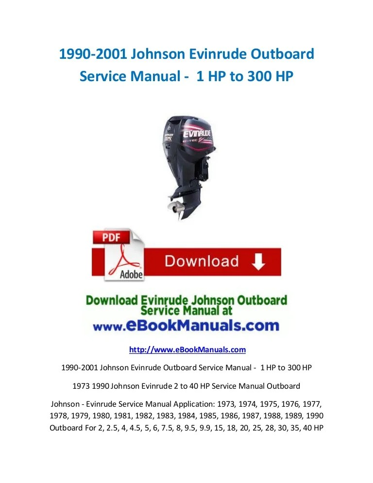 19902001 Johnson Evinrude Outboard Service Manual  1 HP to 300 HP