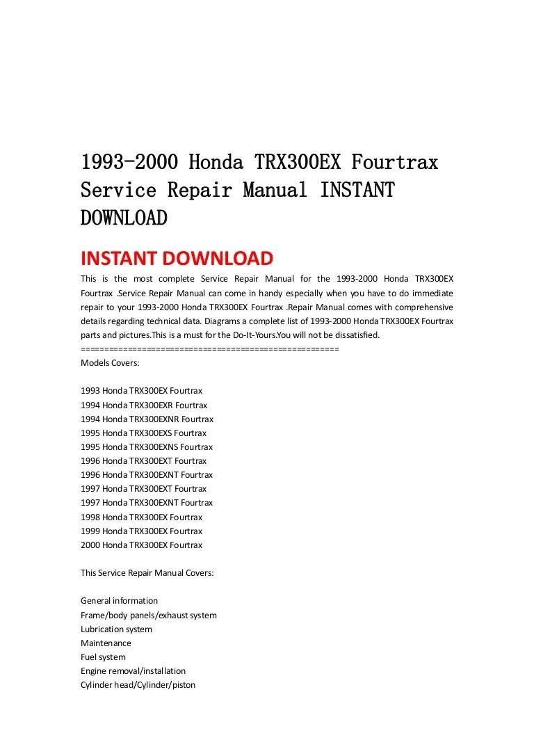 hight resolution of 1993 2000 honda trx300 ex fourtrax service repair manual instant download