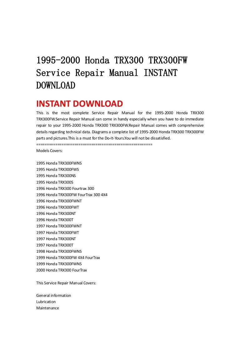 medium resolution of 1995 honda rancher wiring diagram wiring library honda trx 300 fender flares 1995 2000 honda trx300