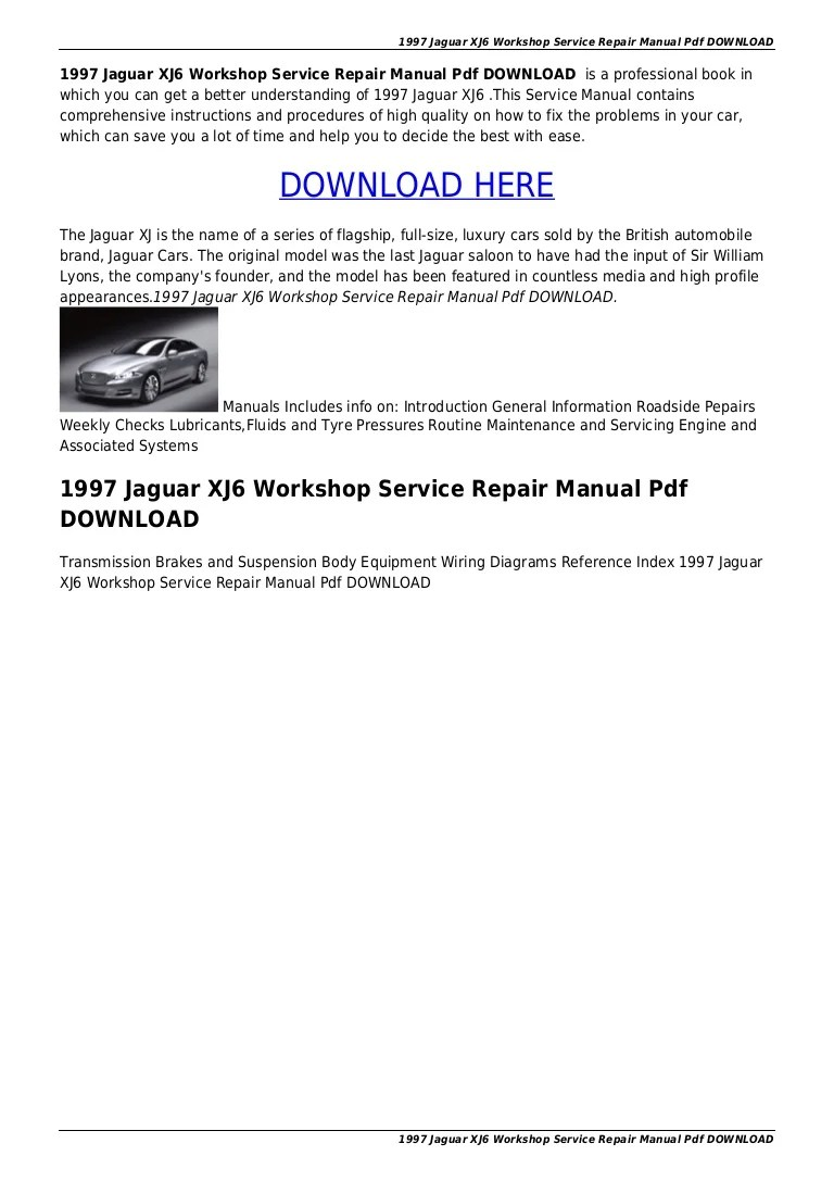medium resolution of 1997jaguarxj6workshopservicerepairmanualpdfdownload 151012191859 lva1 app6892 thumbnail 4 jpg cb 1444677598