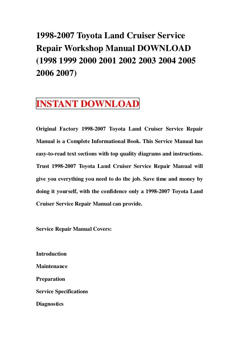 1998 2007 toyota land cruiser service repair workshop manual download 1998 1999 2000 2001 2002 2003 2004 2005 2006 2007  [ 768 x 1087 Pixel ]