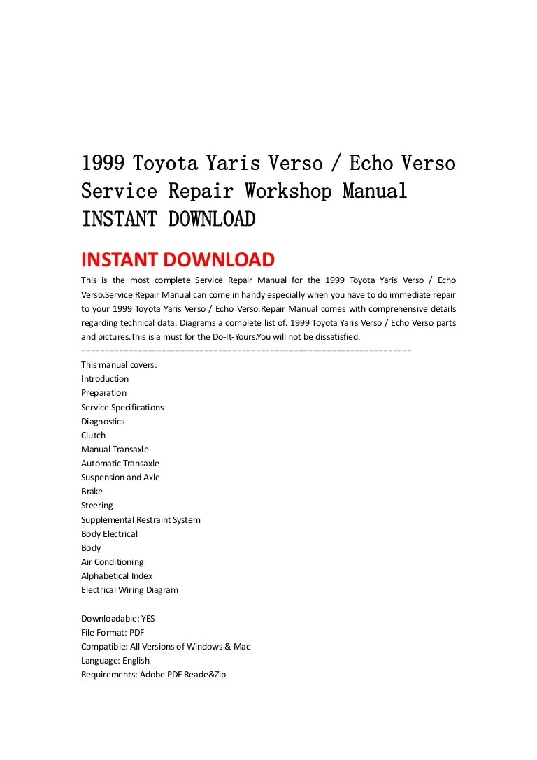 medium resolution of 1999 2005 toyota yaris verso echo verso service repair manual download 99 00 01 02 03 04 05
