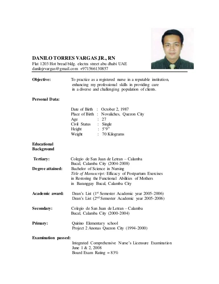 new resume format sample 2015