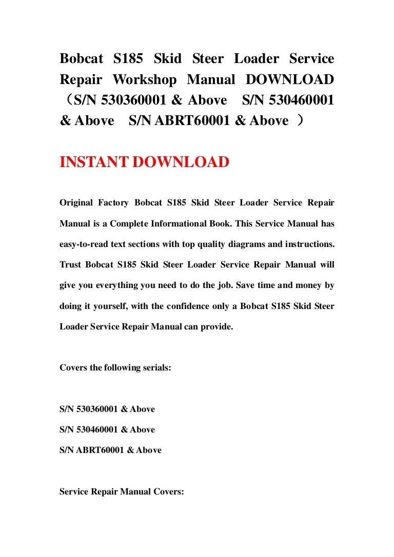 hight resolution of original factory bobcat s175 s185 skid steer loader service repair manual is a complete informational book this service manual has easy to read text