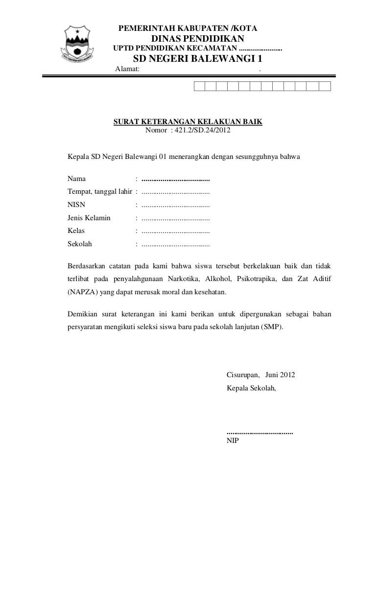 Contoh Surat Keterangan Kelulusan Dan Kelakuan Baik - Cute766