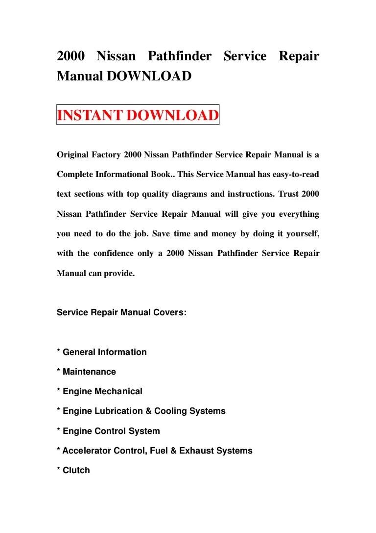 small resolution of 2000nissanpathfinderservicerepairmanualdownload 130111065836 phpapp01 thumbnail 4 jpg cb 1357887551