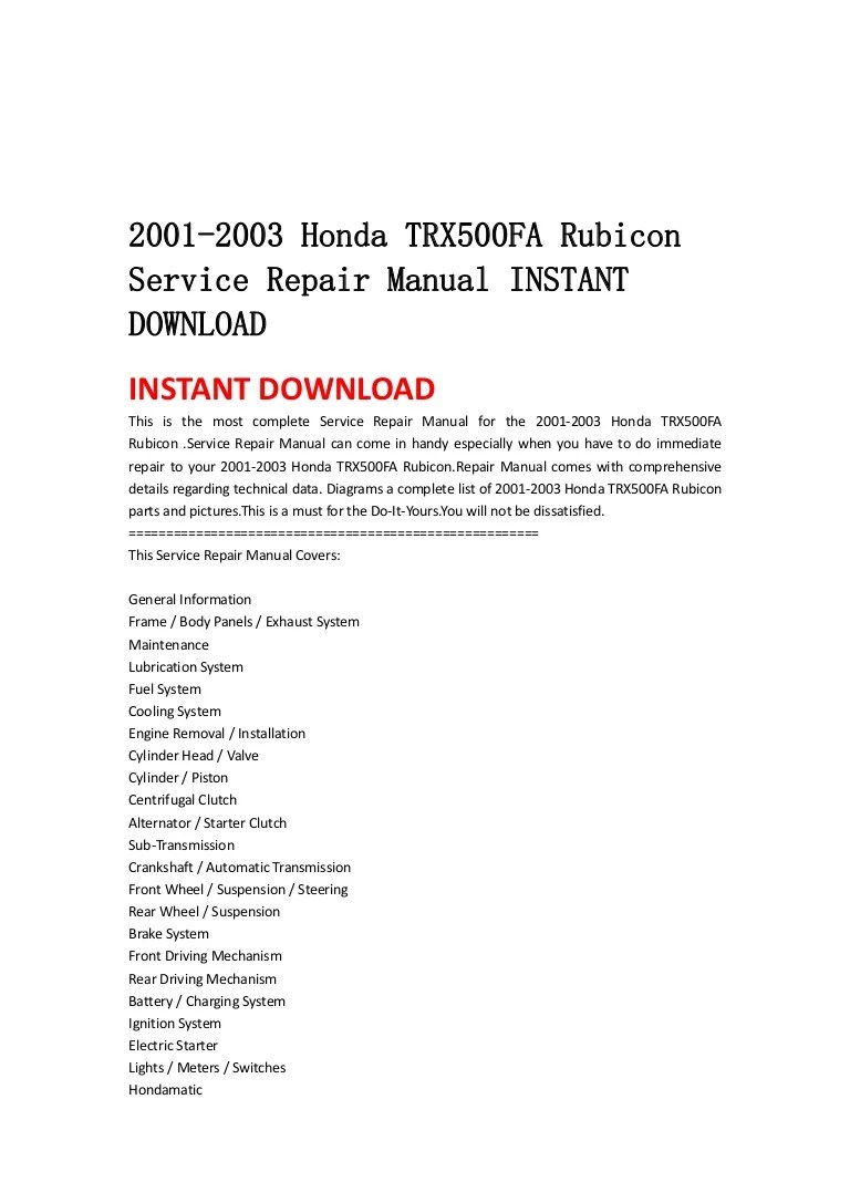 hight resolution of 2001 2003 honda trx500 fa rubicon service repair manual instant downl