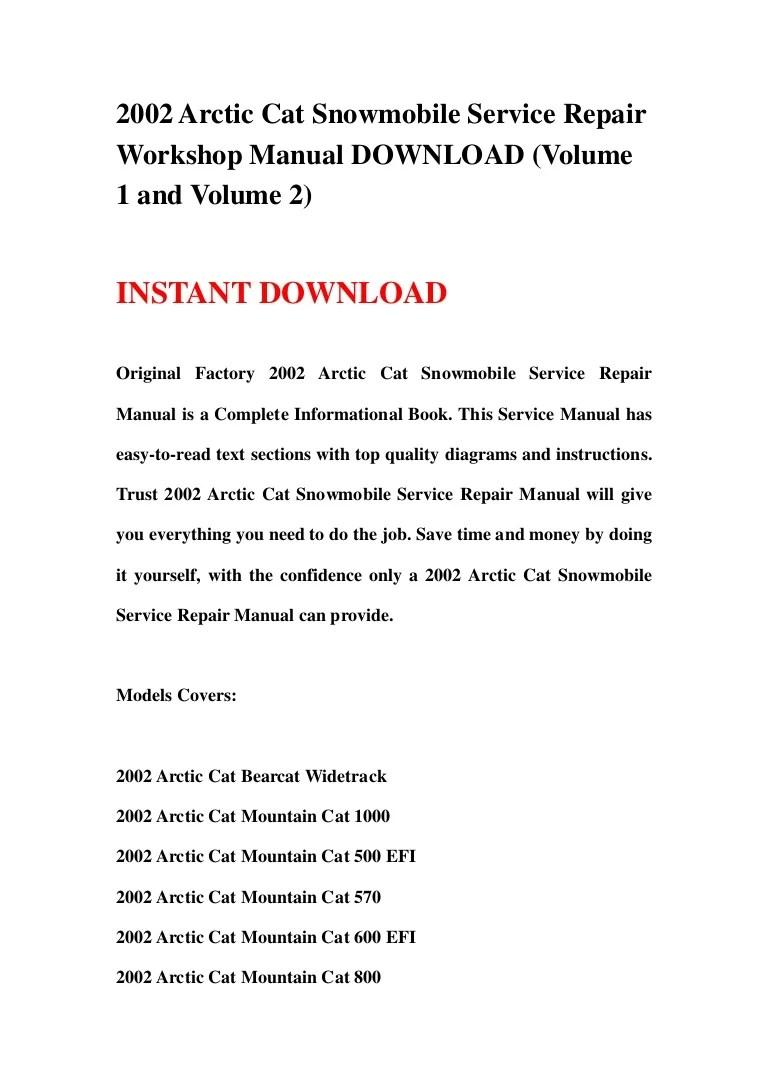 2002 arctic cat snowmobile service repair workshop manual download volume 1 and volume 2  [ 768 x 1087 Pixel ]