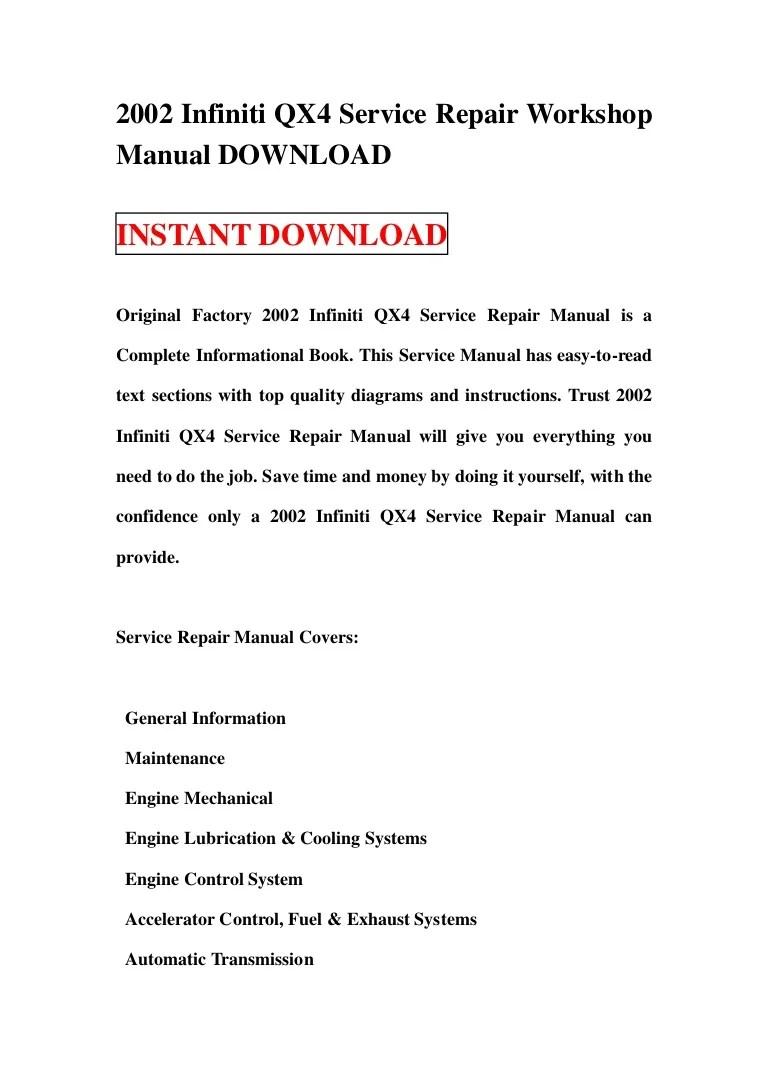 hight resolution of 2002infinitiqx4servicerepairworkshopmanualdownload 130113103327 phpapp02 thumbnail 4 jpg cb 1358073243 2002 infiniti qx4