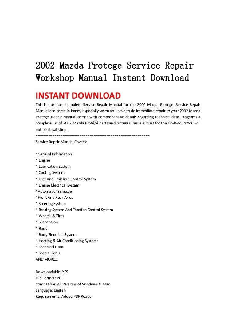 medium resolution of 2002mazdaprotegeservicerepairworkshopmanualinstantdownload 130430065522 phpapp01 thumbnail 4 jpg cb 1367304961
