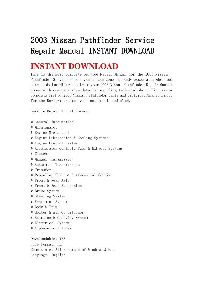 medium resolution of 2003nissanpathfinderservicerepairmanualinstantdownload 130429080602 phpapp02 thumbnail 4 jpg cb 1367222802
