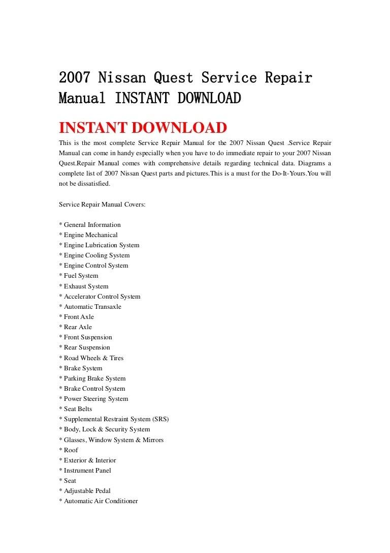 hight resolution of 2007nissanquestservicerepairmanualinstantdownload 130502065926 phpapp02 thumbnail 4 jpg cb 1367478003