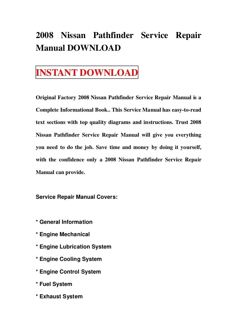 small resolution of 2008nissanpathfinderservicerepairmanualdownload 130113164234 phpapp01 thumbnail 4 jpg cb 1358095389