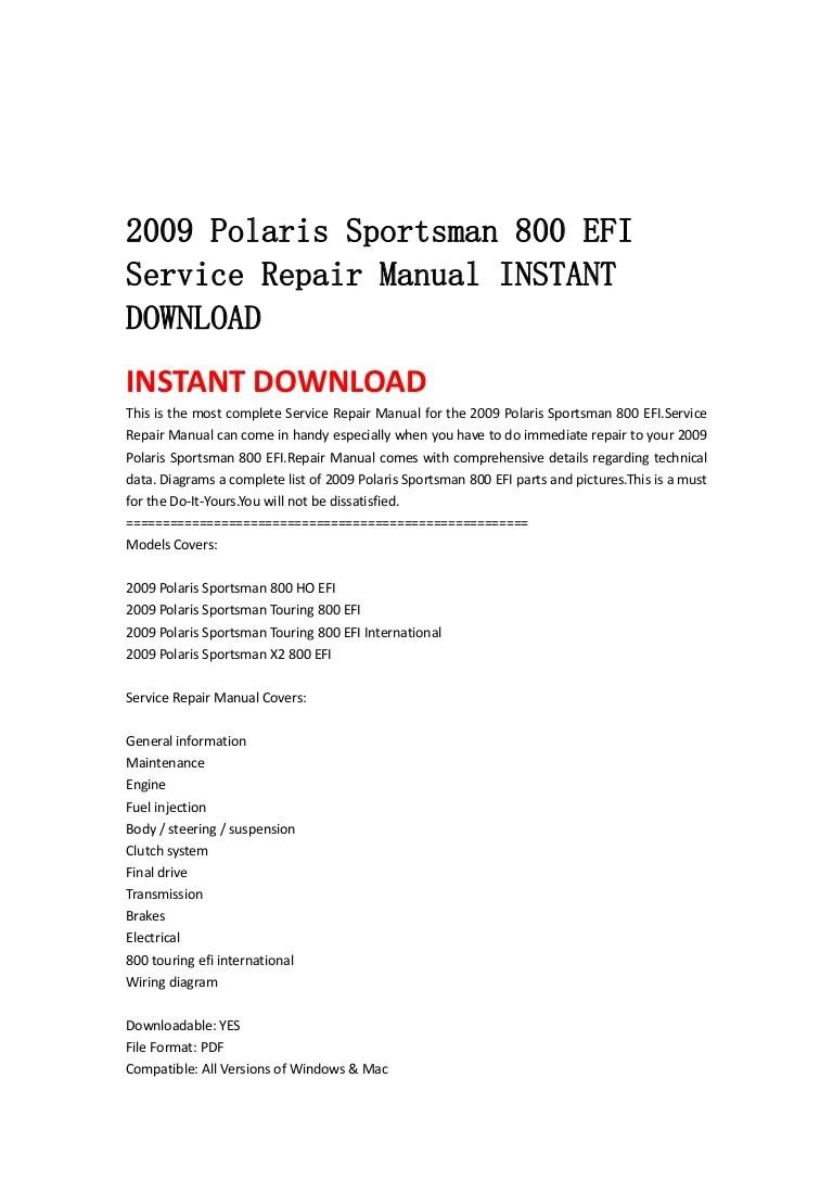 small resolution of 2009polarissportsman800efiservicerepairmanualinstantdownload 130429082317 phpapp02 thumbnail 4 jpg cb 1367223835