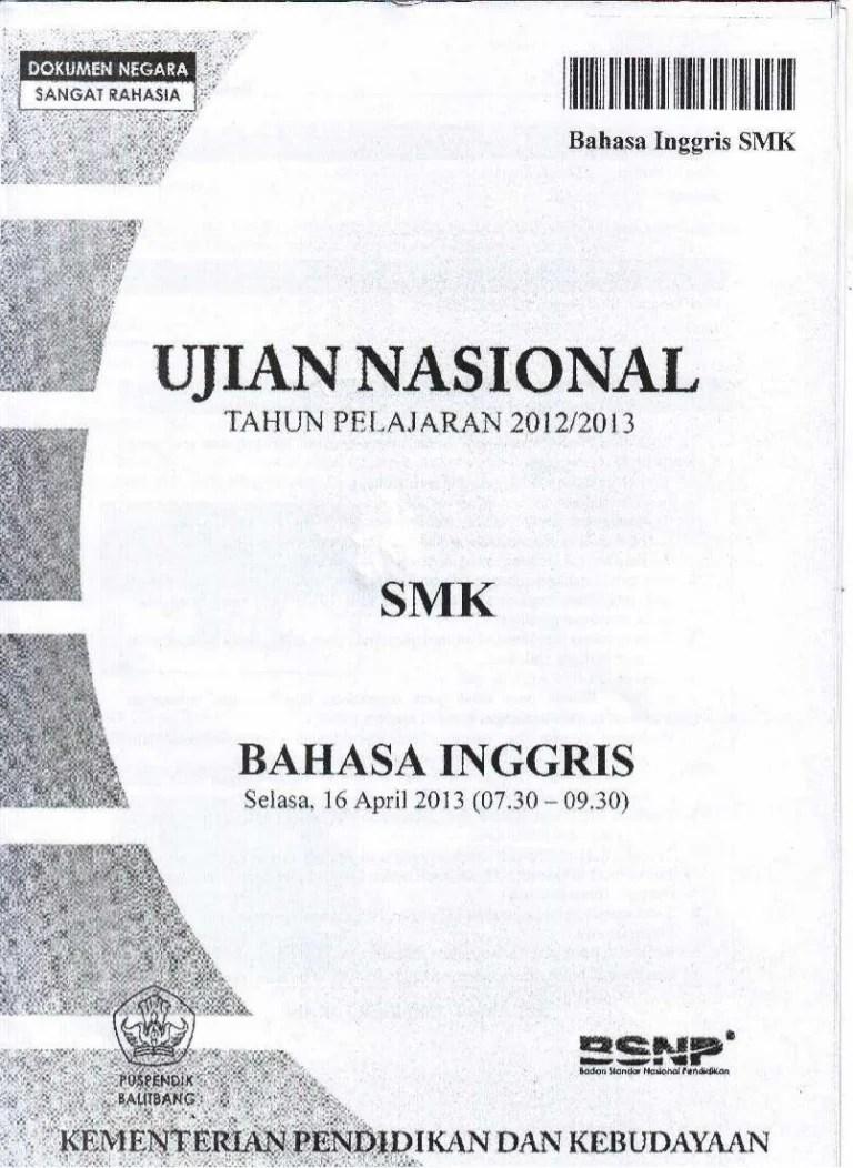 Pembahasan Un Bahasa Indonesia Sma 2019 : pembahasan, bahasa, indonesia, Naskah, Bahasa, Inggris, 2012-2013