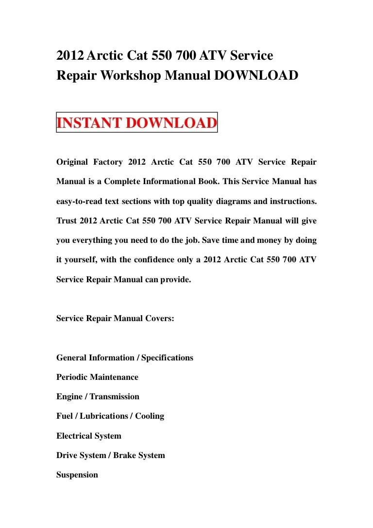 medium resolution of 2012arcticcat550700atvservicerepairworkshopmanualdownload 130116133803 phpapp02 thumbnail 4 jpg cb 1358343520