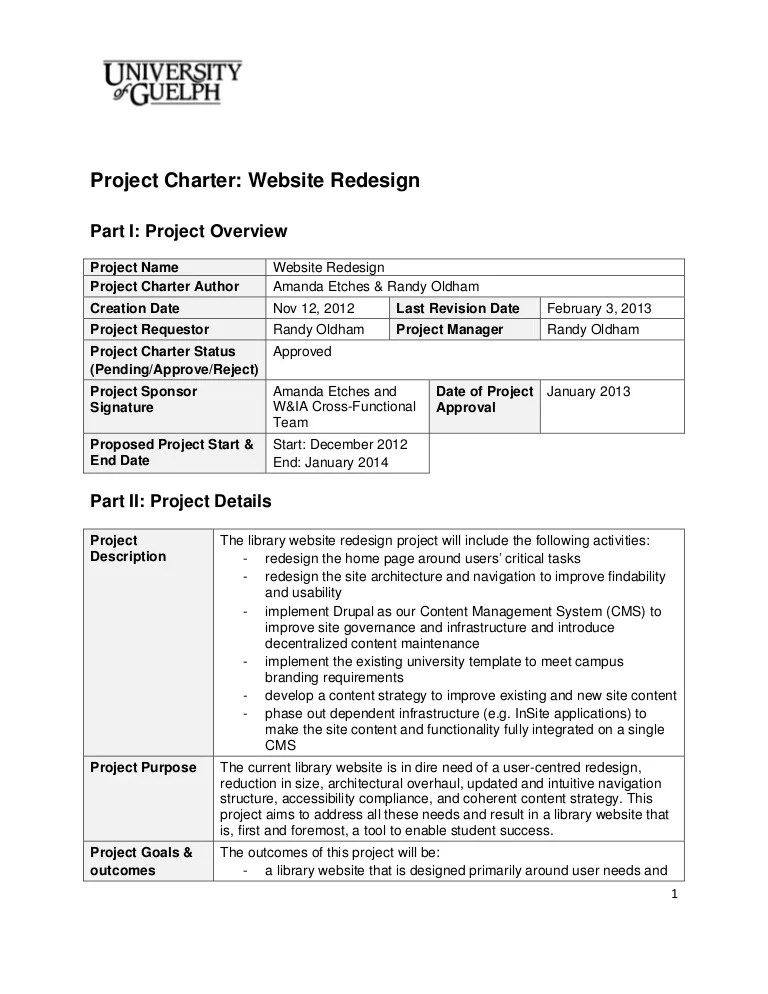 2013 Website Redesign Project Charter Final