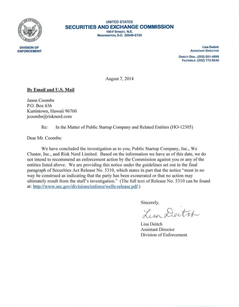 JOBS Act Rule 506 C Formal Investigation Closing Letter