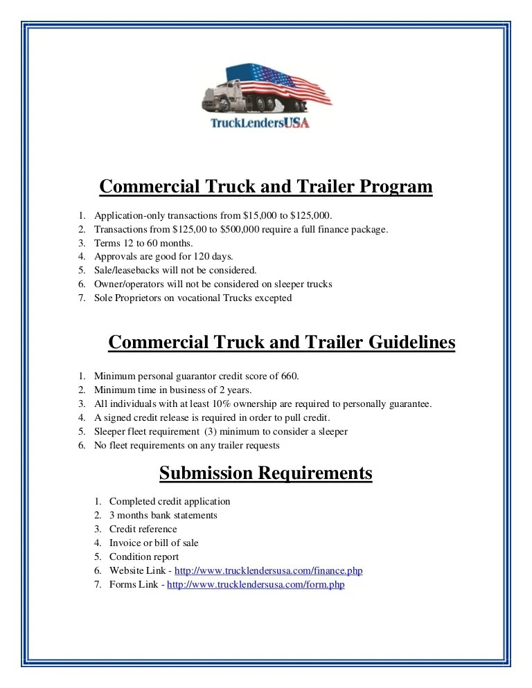 Gallery of Commercial Truck Financing ~ Personal Guarantee Form
