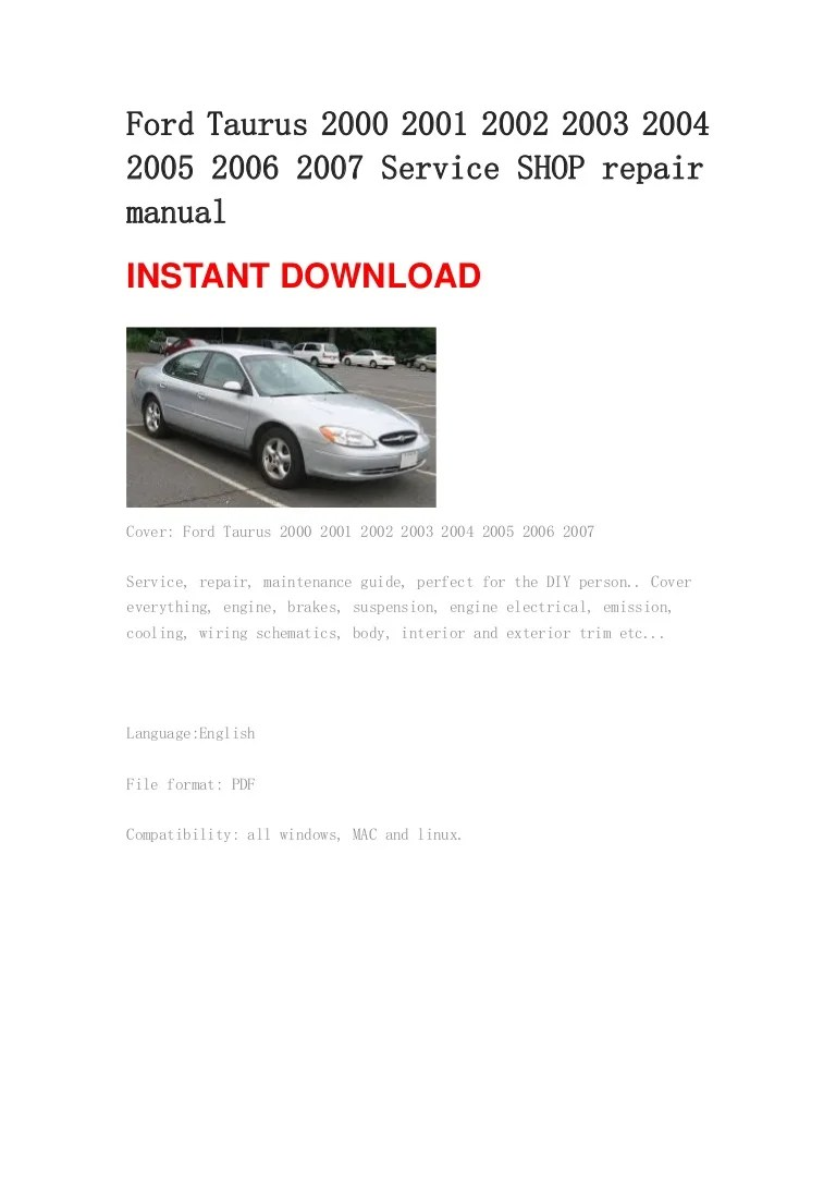 medium resolution of ford tauru user manual