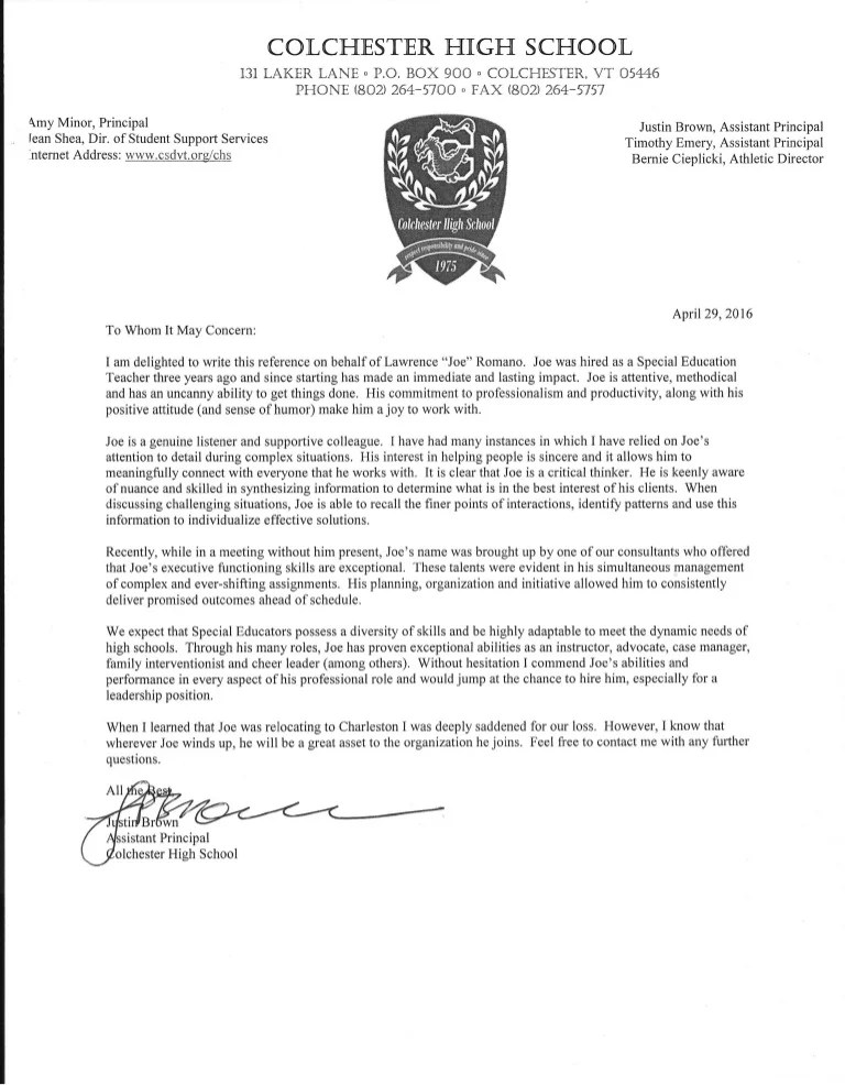 letter of recommendation for principalship