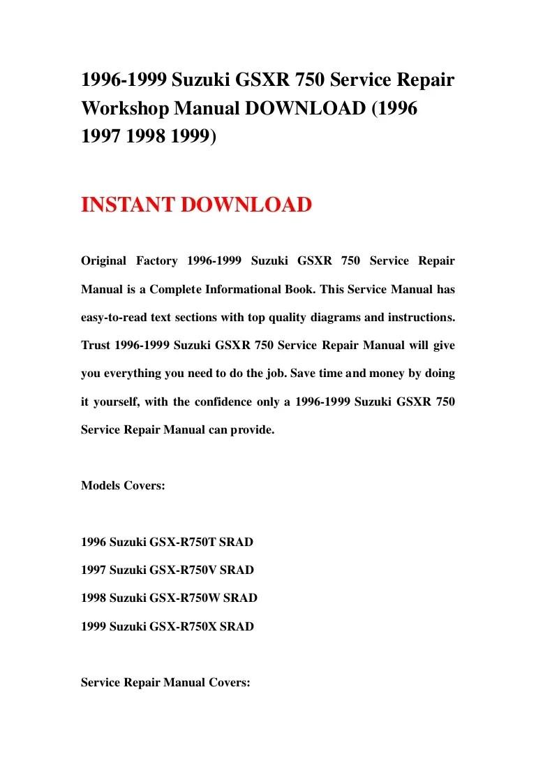 hight resolution of 1996 1999 suzuki gsxr 750 service repair workshop manual download 1996 1997 1998 1999
