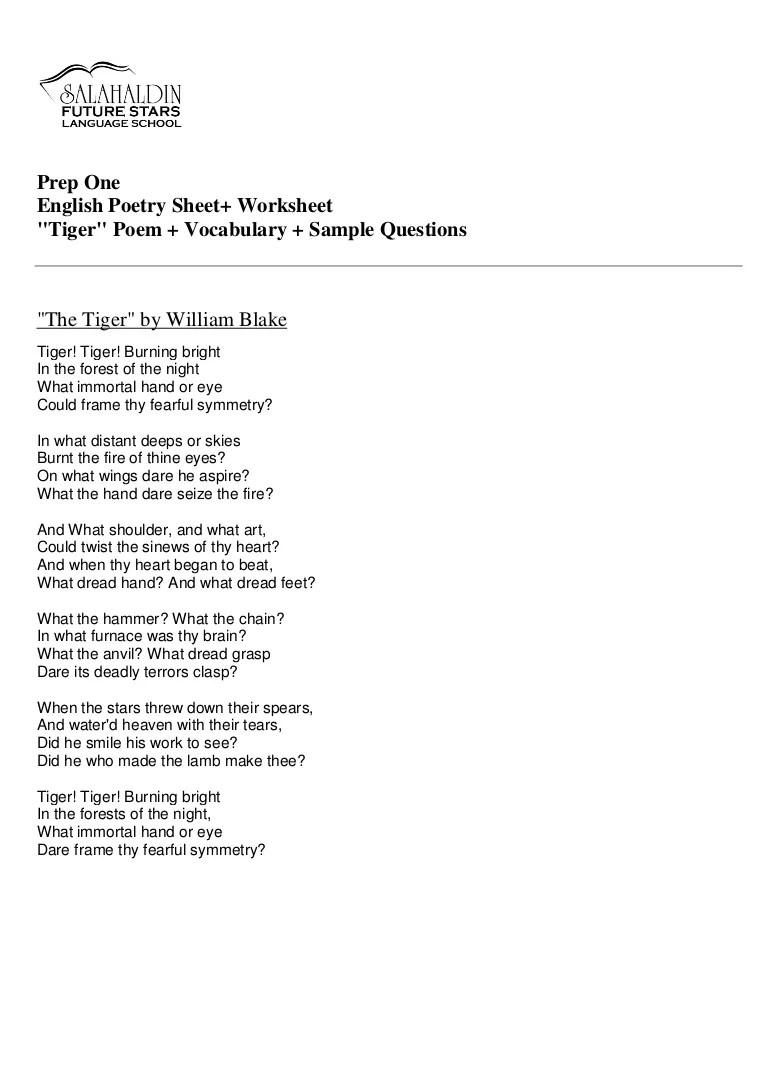 Prep (1) Tiger Poem Worksheet [ 1087 x 768 Pixel ]