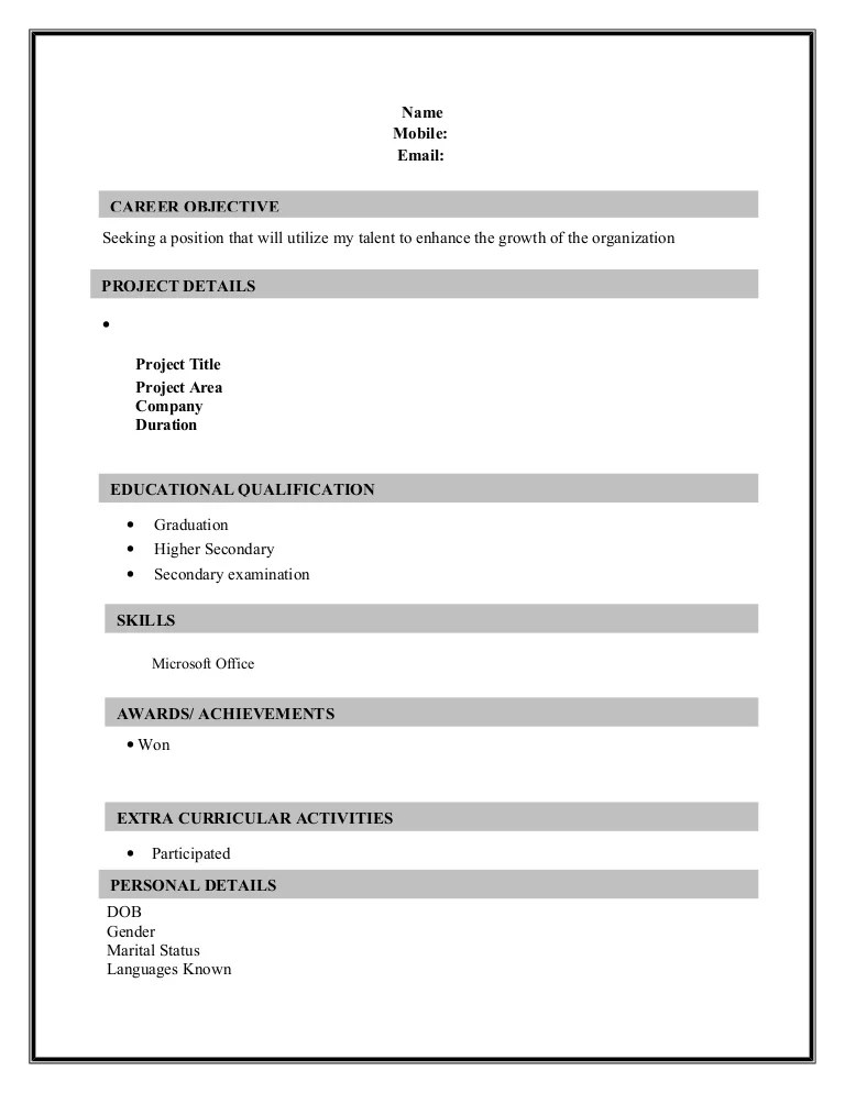 Resume Sample Formats Download 2 page Resume 1  wwwannauniveduorg