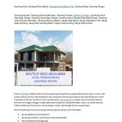 Harga Atap Baja Ringan Dan Genteng Beton Wa Telp 082186148884 Rata Tuban