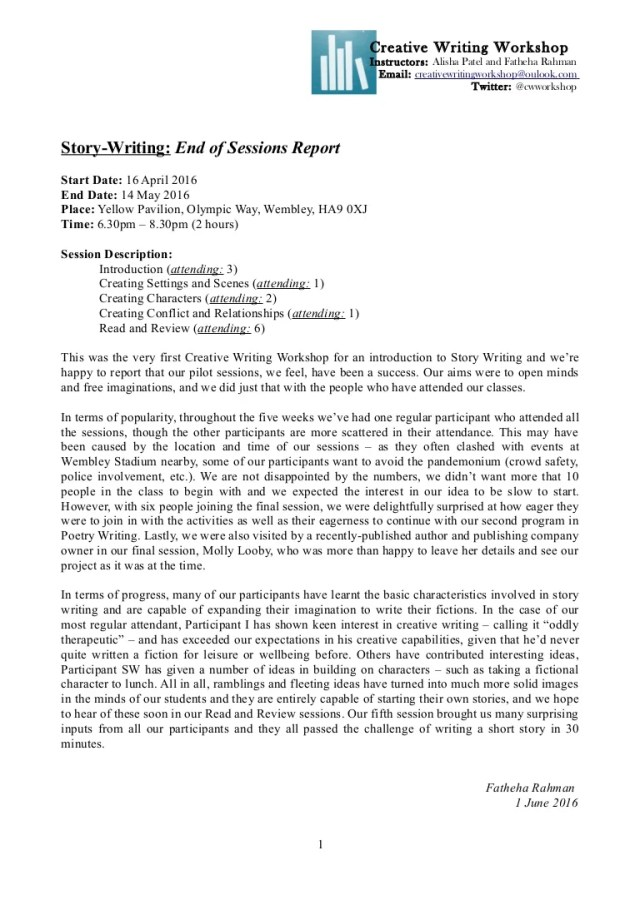 Story-Writing - End of Sessions Report