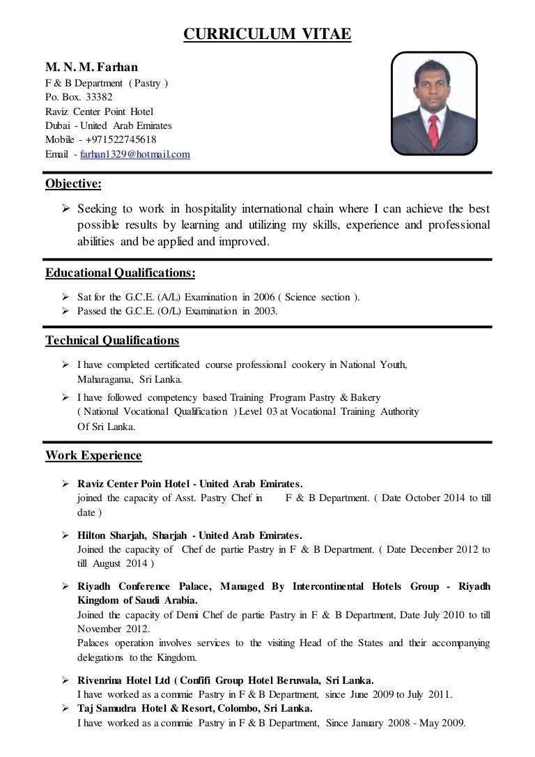 Asst Pastry Chef CV