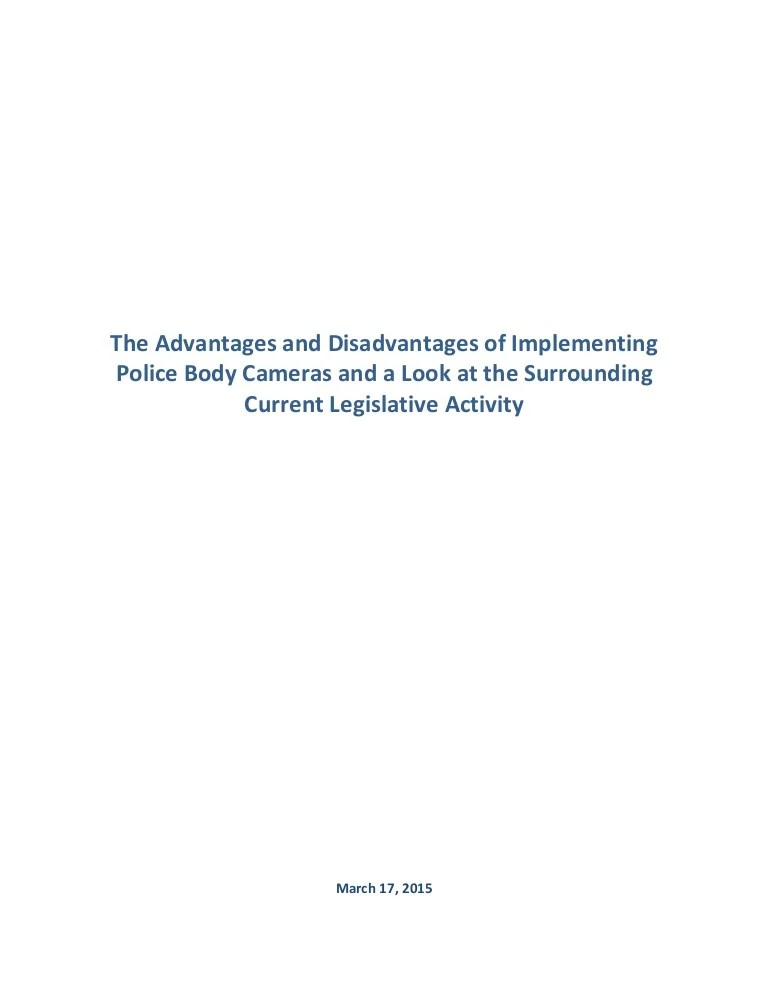 Research Paper Advantages And Disadvantages Of Police Body Cameras