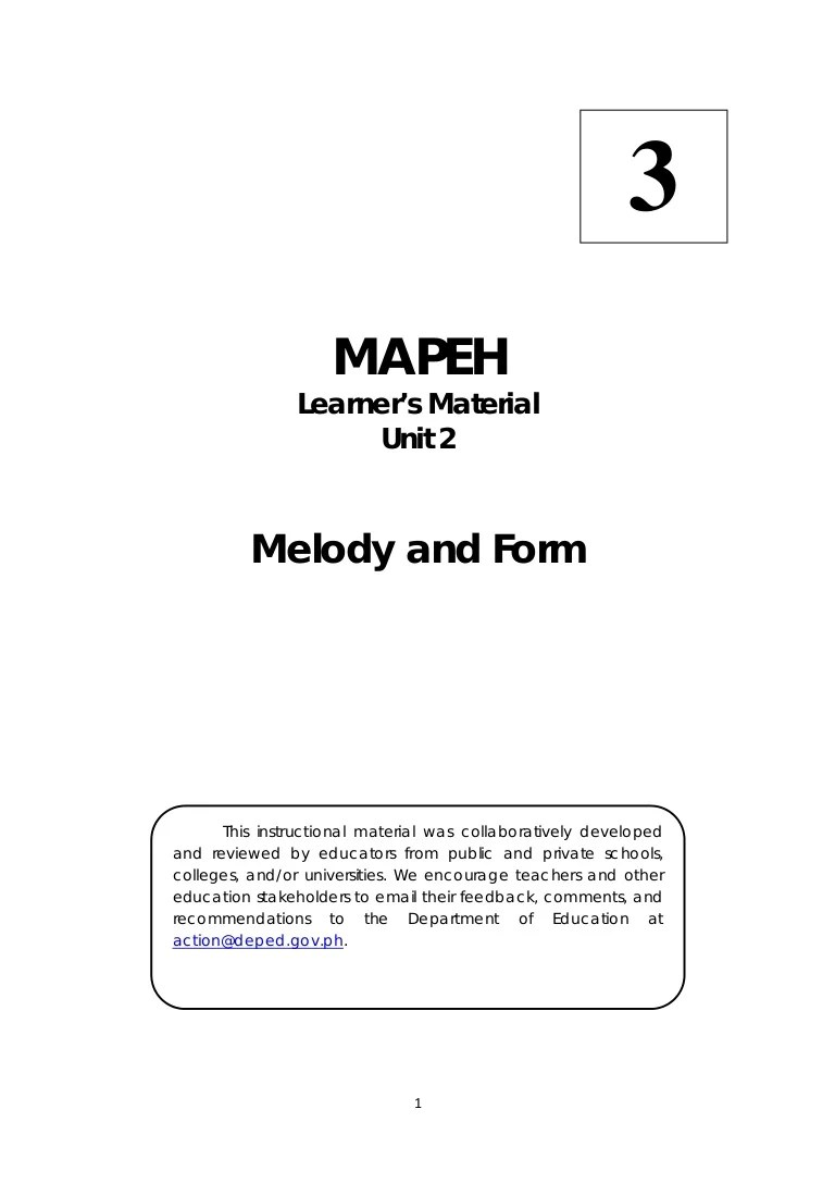 hight resolution of MAPEH 3 Music Learner's Manual 2nd Quarter