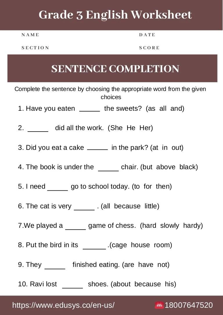 hight resolution of 3rd grade english grammar worksheet free pdf