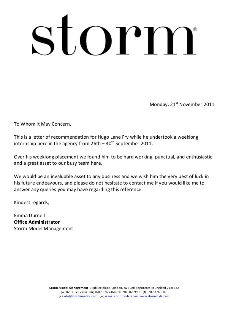 email for recommendation letter