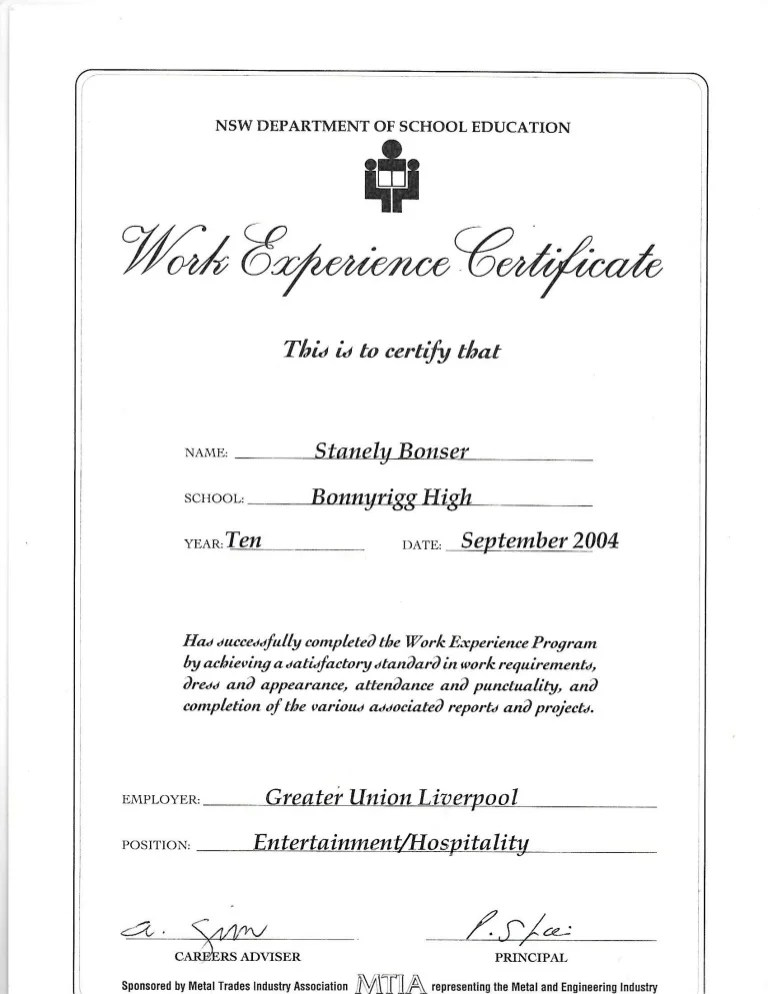 Work Experience Certificate Greater Union