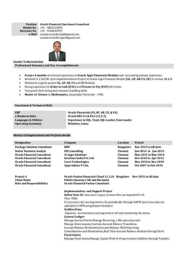 Oracle Financial Functional Consultant Sample Resume Oracle Financial With 8 Years 4 Months