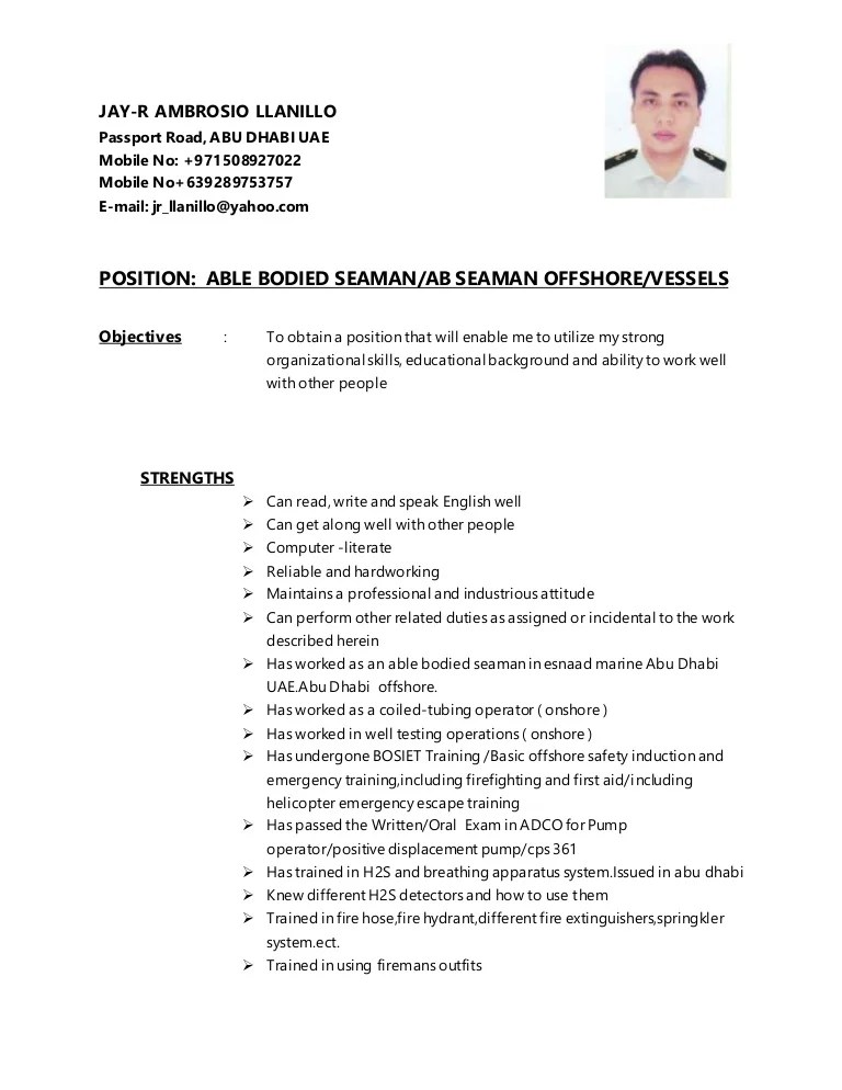 Jay R CV AB SEAMAN 2 VERSION