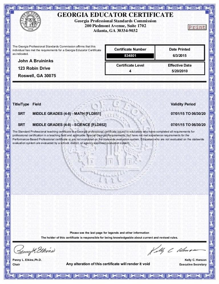 Ga Teacher Certification
