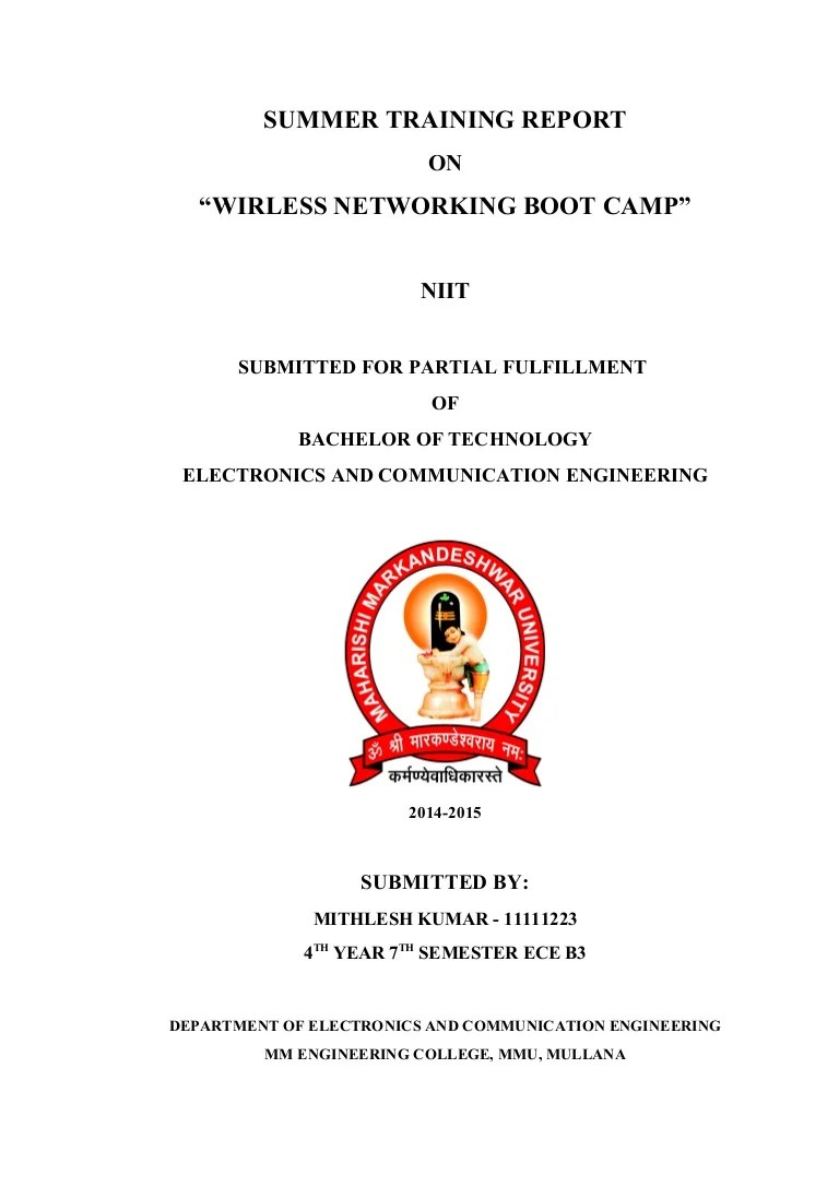 training report cover page